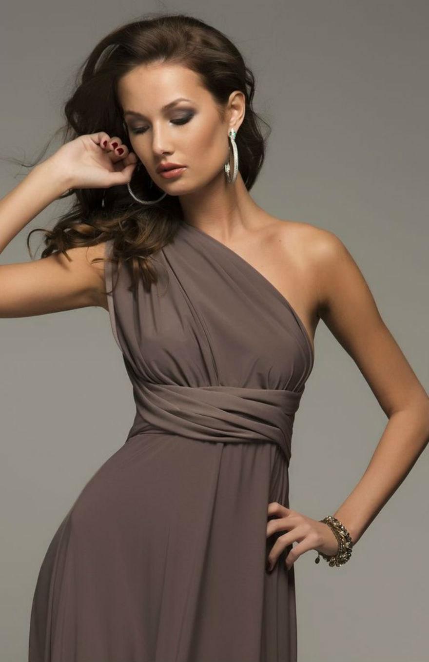 Bridesmaid Floor Length Mocha Brown Infinity Dress Convertible Wrap Long Dresses