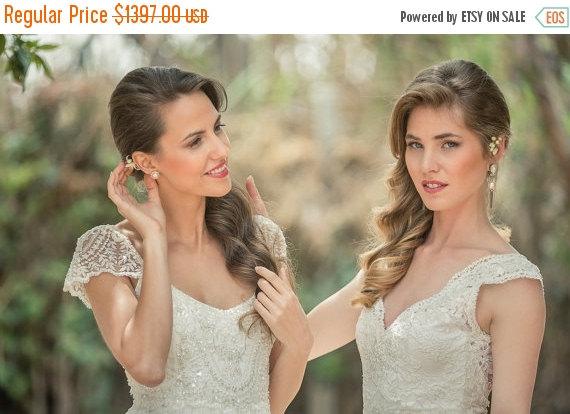 Hochzeit - Cyber Monday Sale Romantic vintage lace wedding dress, boho chiffon open back wedding dress, bohemian Lace wedding dress, beach ivory dress,