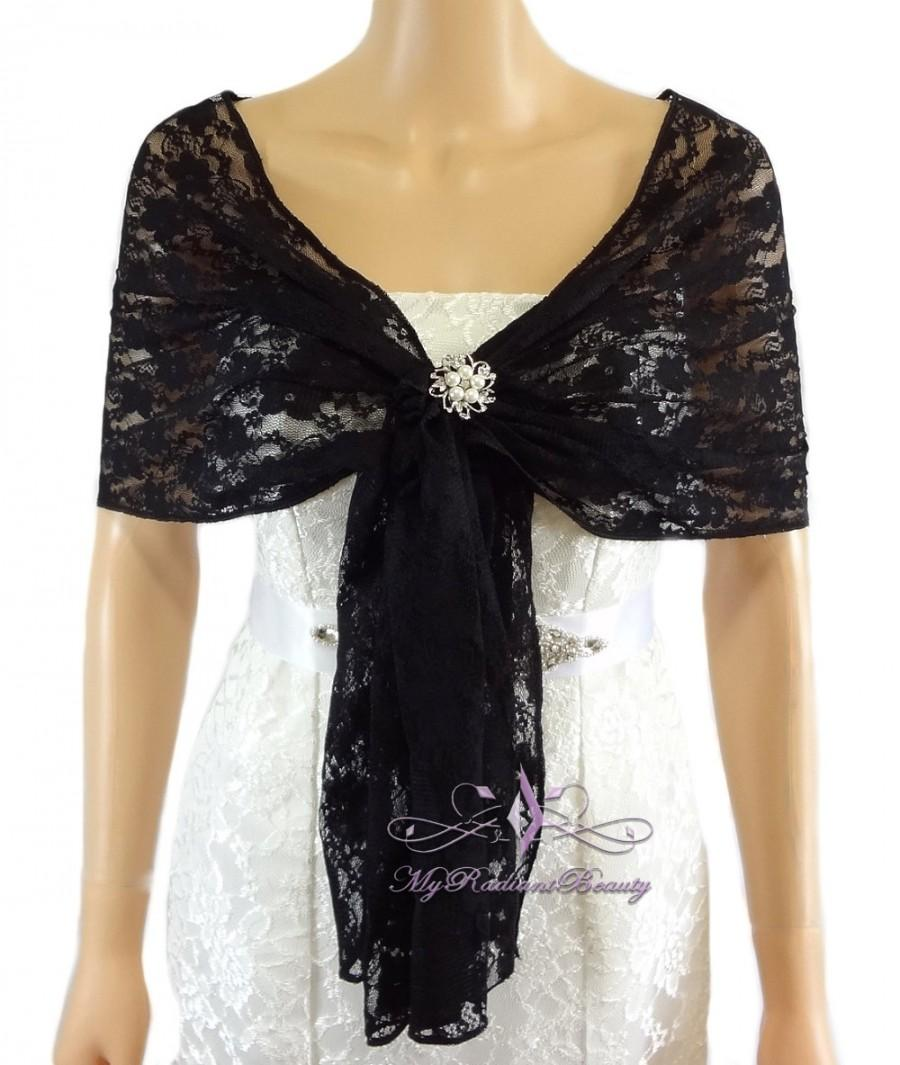 Mariage - Bridal Lace Wrap Stole, Black Lace Shawl, Bridal Silk Lace Wrap Shrug, Faux Fur Wrap, Elastic Lace Wrap, Lace Wrap, Evening Wrap LAW108-BLK