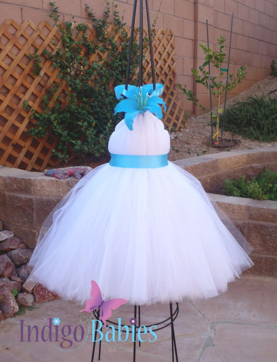 Tutu Dresses, Tutu Dress, Flower Girl Dress, Pure White Tulle, Turquoise  Blue Ribbon, Blue Flower, Formal Dresses, Portrait Dress, Wedding