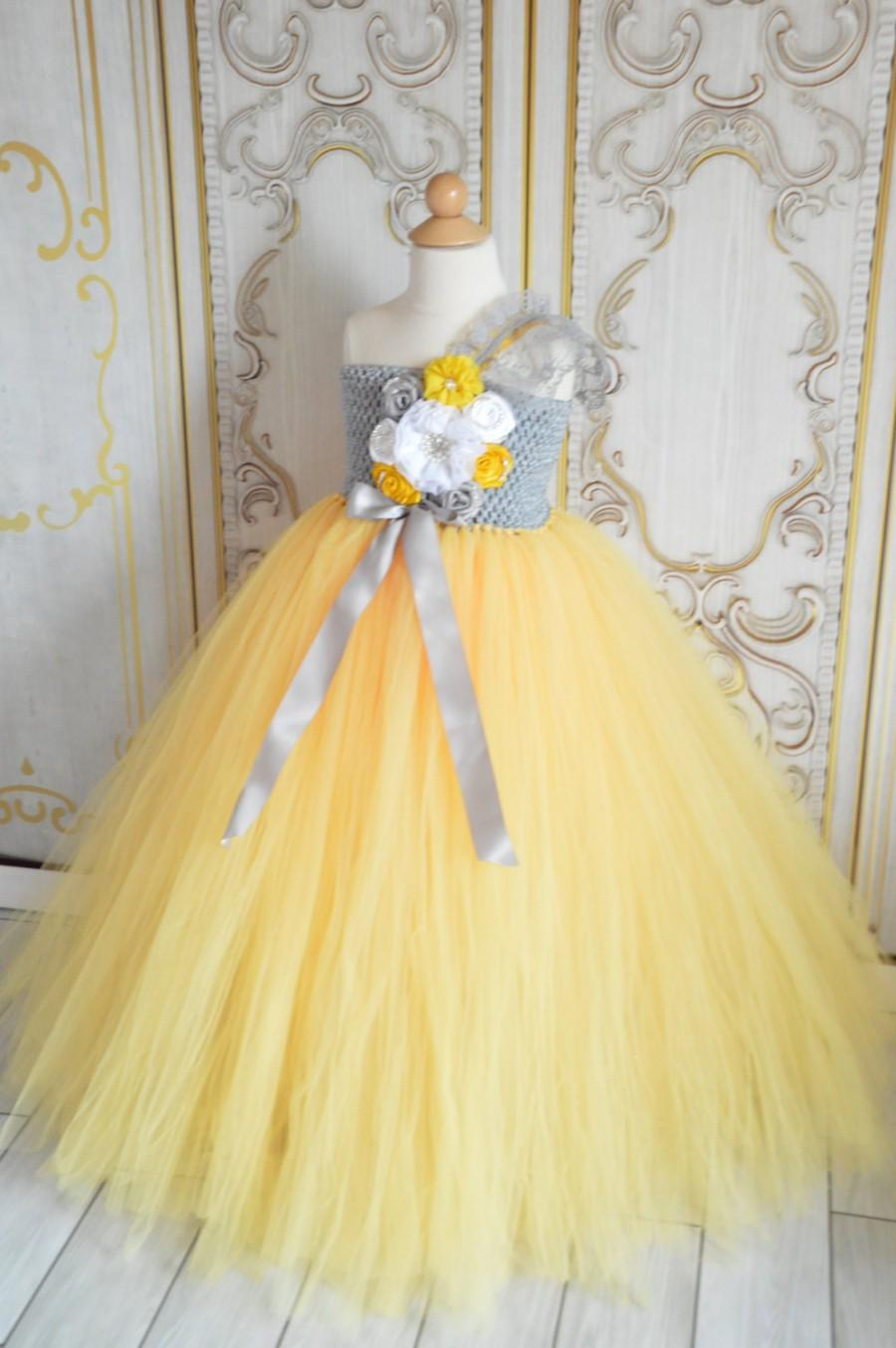 Vintage Grey And Yellow Flower Girl Tutu Dress 2422551 Weddbook