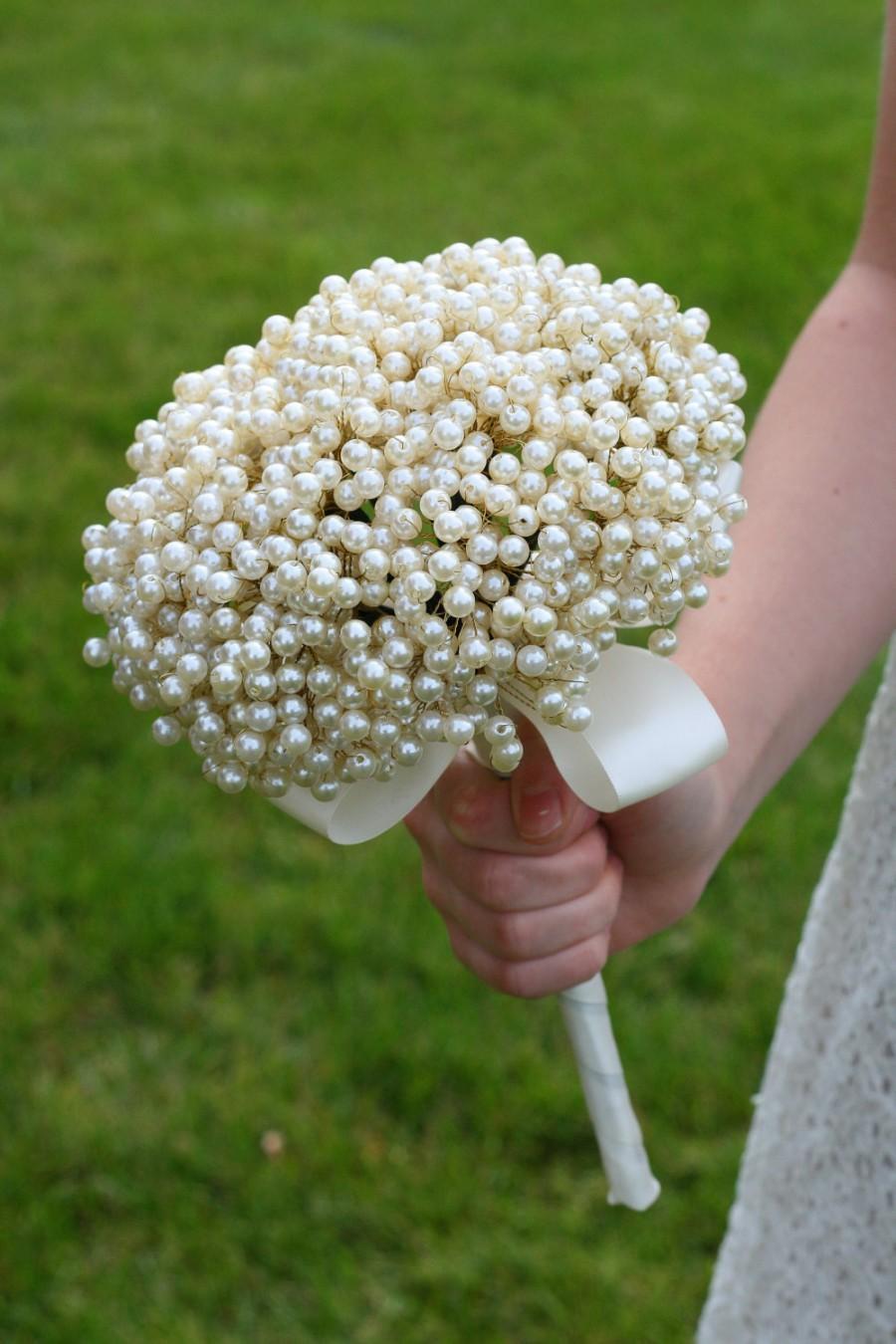 Wedding Flowers Bridal Bouquet Of Vintage Style Pearls Brooch