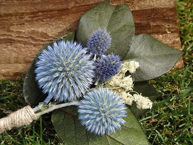 Wedding - Boutonniere For A Blue Wedding   Prom Boutonniere  Rustic Boutonniere  Rustic Wedding  Globe Thitsle