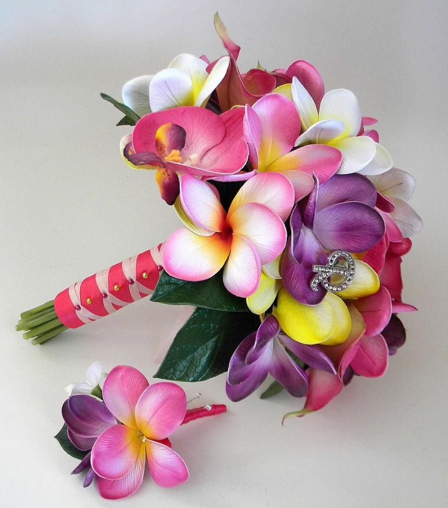 Mariage - Pink with Touches of  Purple Tropic Beach Wedding Bridal Bouquet  with Real Touch Plumerias, Calla's and Orchids - Made to Order