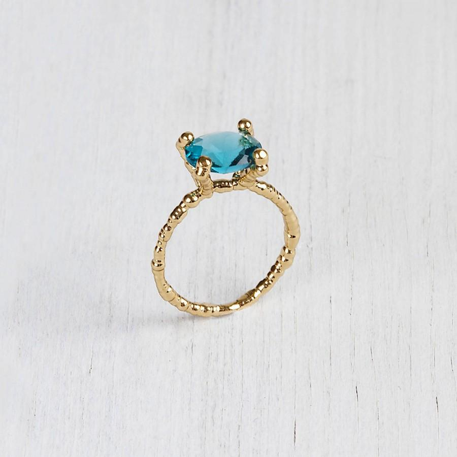 Свадьба - 14K Gold Ring, Solitaire Ring, Blue topaz Stone