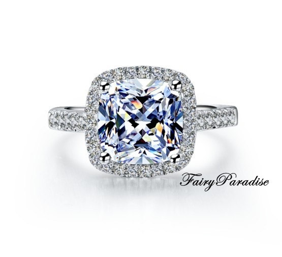 Wedding - Gorgeous Halo 3 Ct (9 mm) Cushion Cut Man Made Diamond Engagement / Promise Ring, Pave Band, with gift box- made to order ( Fairy Paradise)