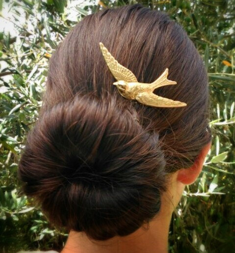 Wedding - Bird Hair Comb Large Gold Sparrow Hair Comb Gold Hair Accessories Hair Clip Boho Hair Woodland Bridal Hair