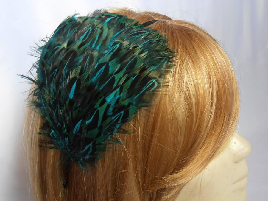 Свадьба - Feather headband, green & black feather hair fascinator, feather accessory