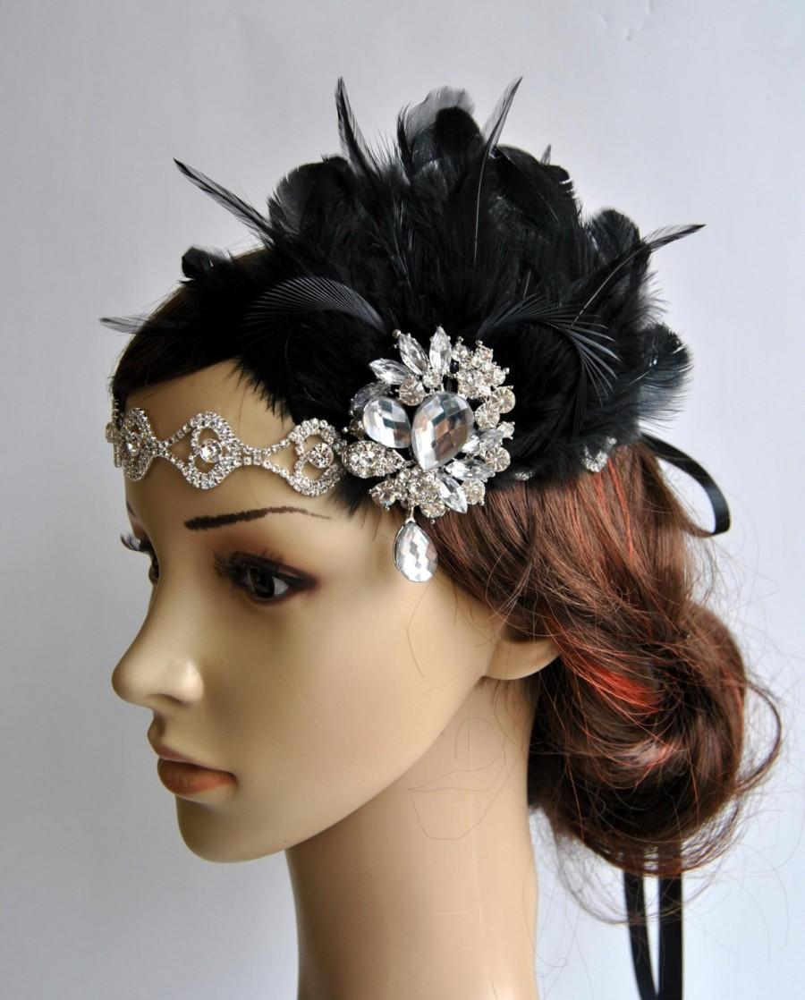 Свадьба - Rhinestone Flapper headband,1920's flapper Headpiece, The Great Gatsby, rhinestones headband, silver black