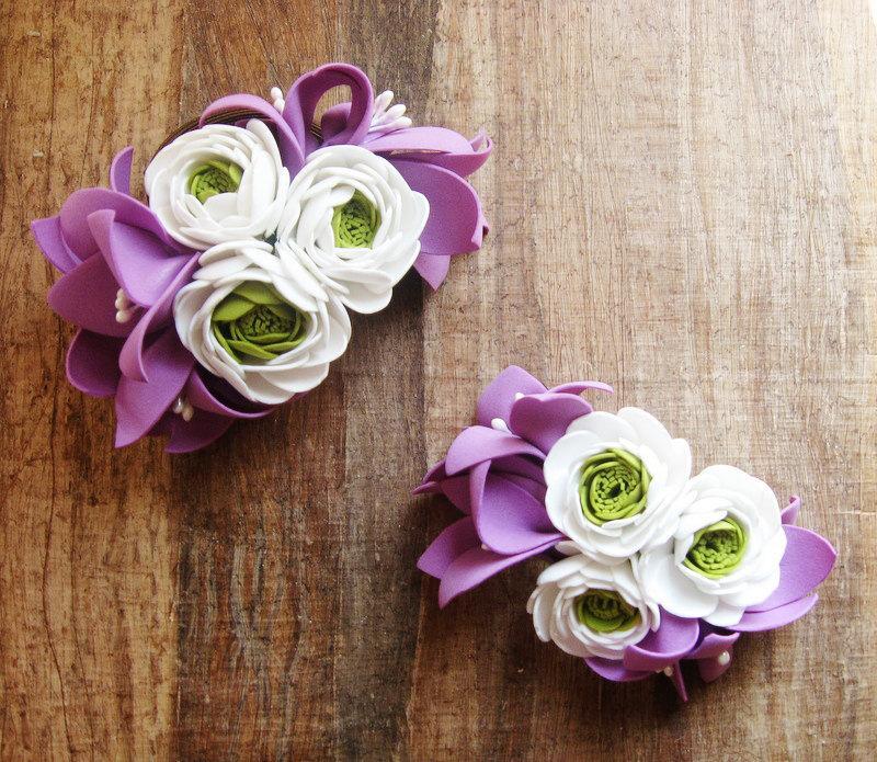 Свадьба - Wedding decorations, bridal tiara flowers- crystal headpiece- foamiran flowers- wedding tiara of colors- Bracelet flowers