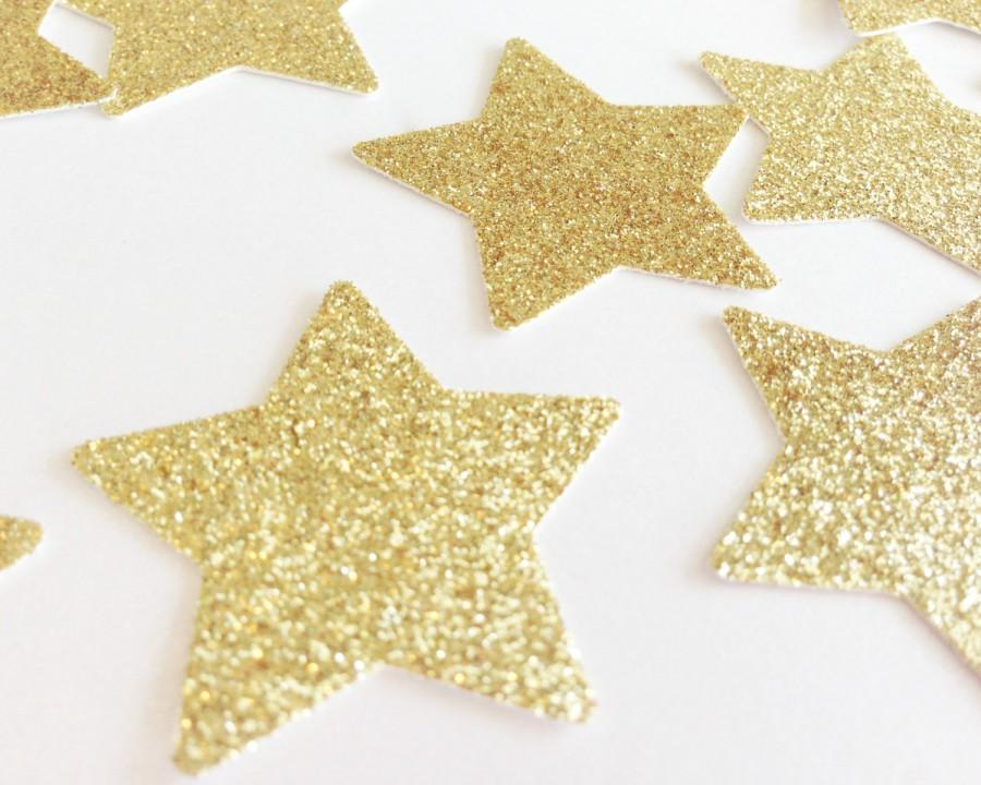 Mariage - 50 Gold Glitter Star Punch Die Cuts 1 3/8 inch - Embellishment, Confetti, Table Decoration, Wedding, Birthday, Bridal Shower, Bachelorette