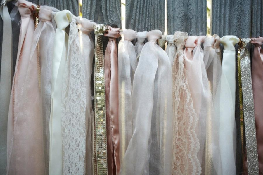 Mariage - Blush and Ivory Lace Backdrop - with Ribbons, Lace & Pearls - wedding ceremony - vintage photo prop - birthday banner