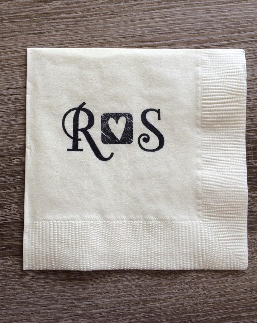 Mariage - Personalized Napkins - Monogrammed Initials Custom Napkins, Engagement Party, Wedding Napkin Cocktail Cake, Bridal Shower Bachelorette Party
