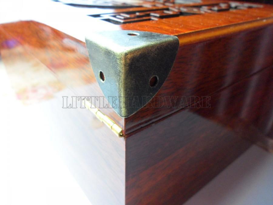 زفاف - 8PCS 25mmX25mmX25mm antique brass Jewelry Box Corner Decoration Corner Protection Decorative Corner Bracket for Chest Case Box CB0043