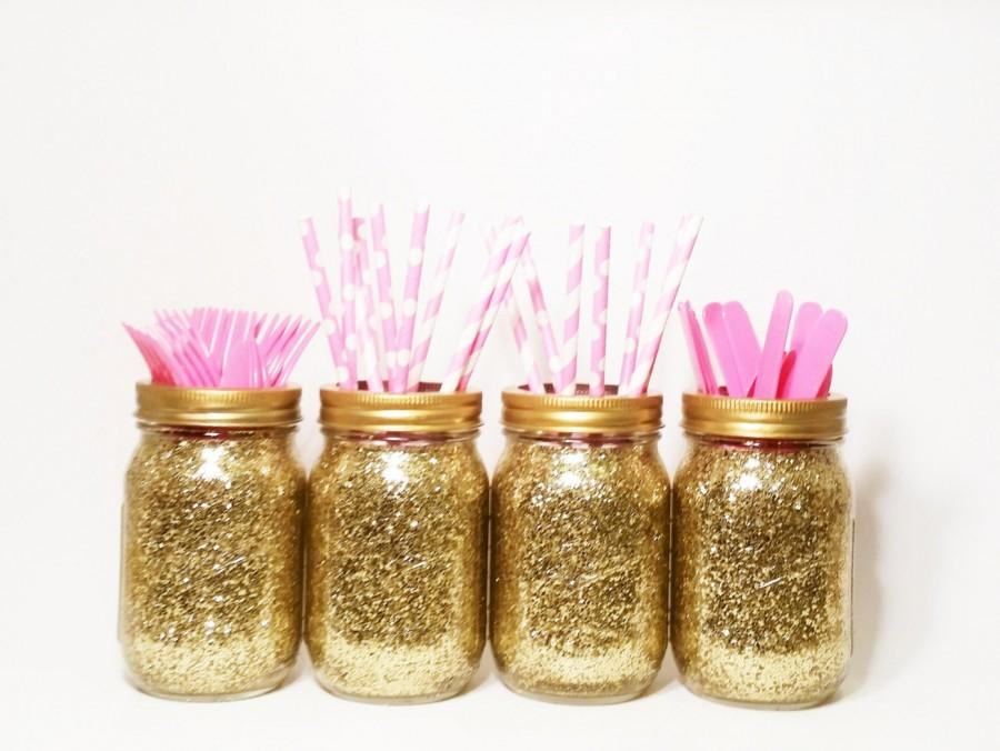 Mason jar centerpieces gold wedding decor baby shower