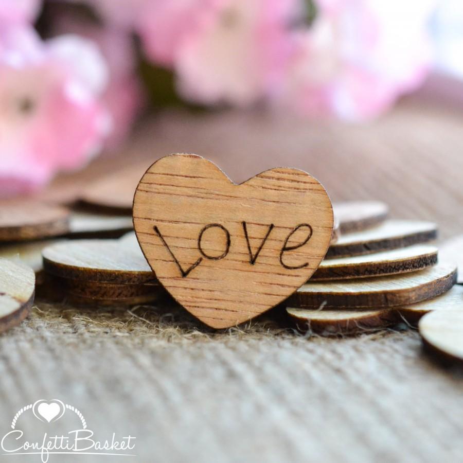 "زفاف - Love Wood Hearts 1"" - Rustic Wedding Decor - Table Confetti - Wooden Hearts - Wedding Invitations"