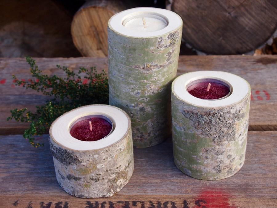 Aspen wood candle holders holiday decor wisconsin for Aspen logs for decoration