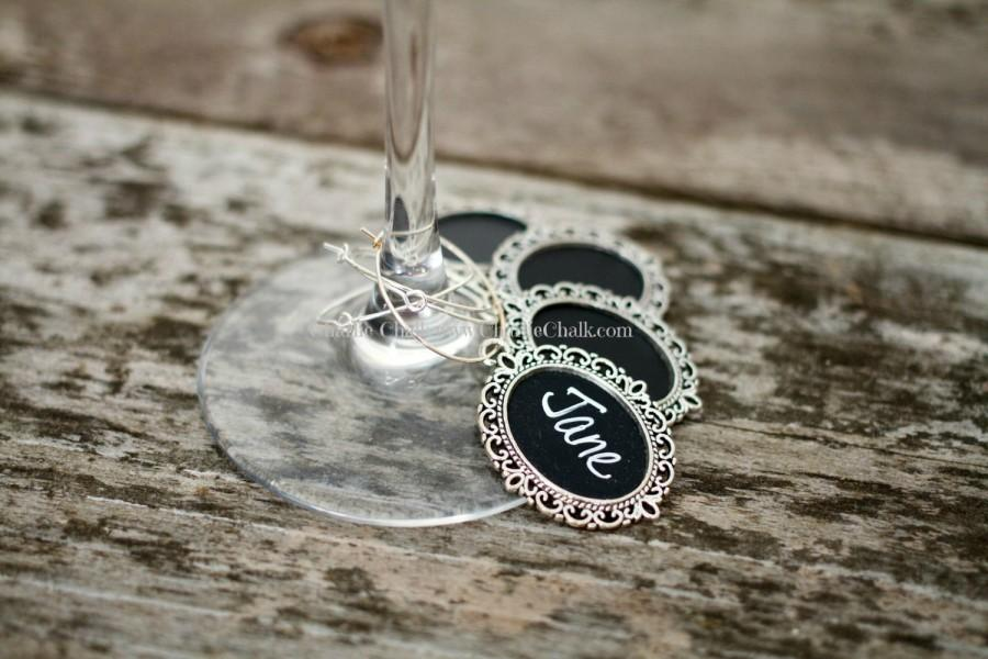 Wedding Favors 15 Personalized Wine Charms Chalk Marker