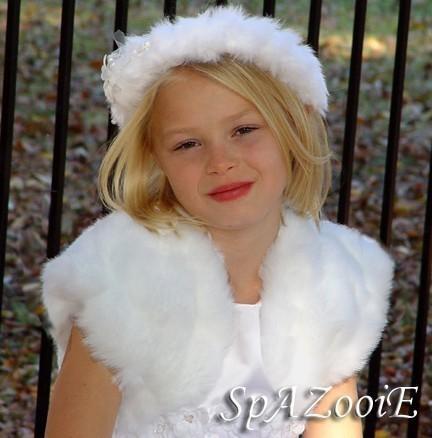 Hochzeit - CHILD Size mink faux fur bolero jacket bridal wedding coat (White, Ivory, Brown or Black)