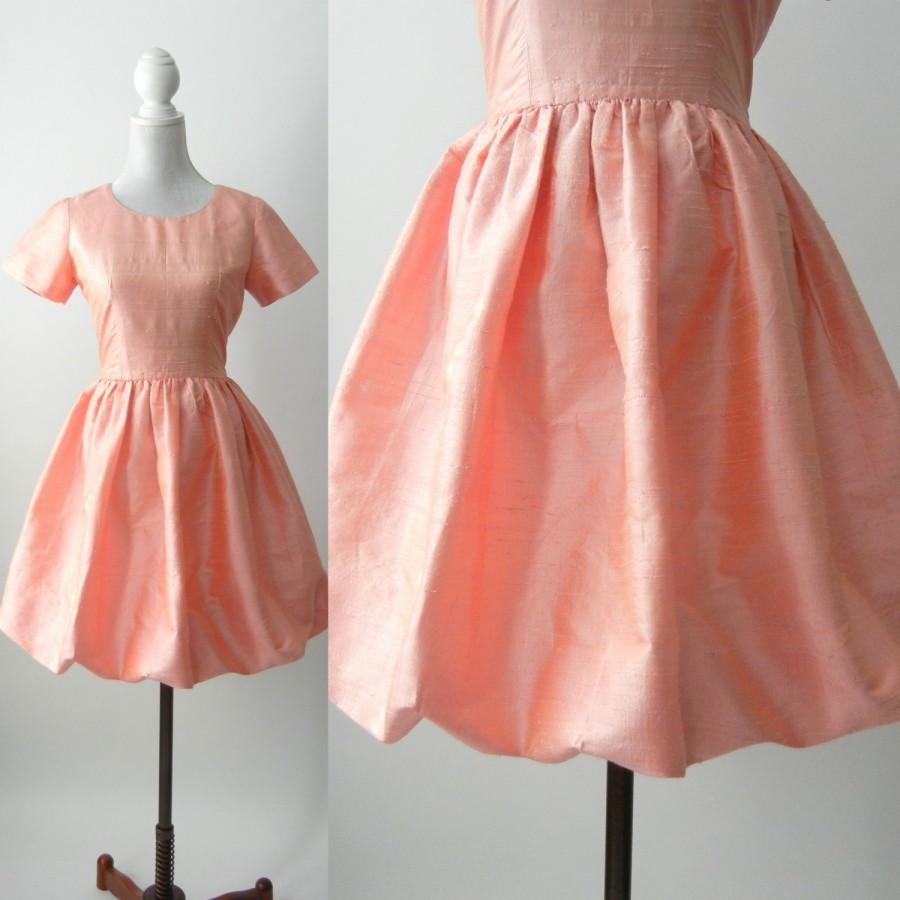 Mariage - Vintage Pink Dress, 80s Pink Silk Dress, Retro 80s Bubble Dress, Retro 80s Dress, 1980 Pink Dress, Pink Summer Vintage Dress, Bridal