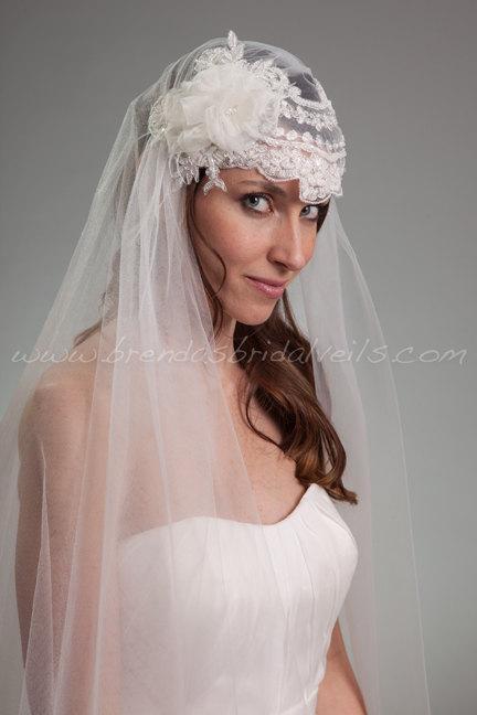 Mariage - Cap Veil, 1920's Flapper Style Bridal Veil, Lace Wedding Veil - Madonna