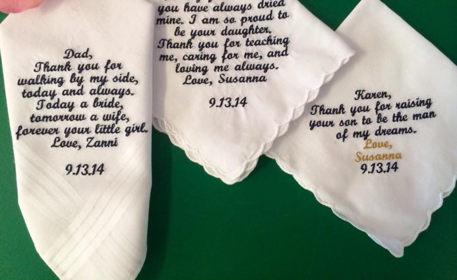 Wedding - Set of 3 personalized handkerchiefs