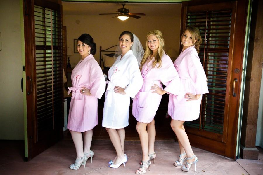 Mariage - 4 Wedding Party Bridesmaids Spa Robes Monogrammed Front embroidery is included