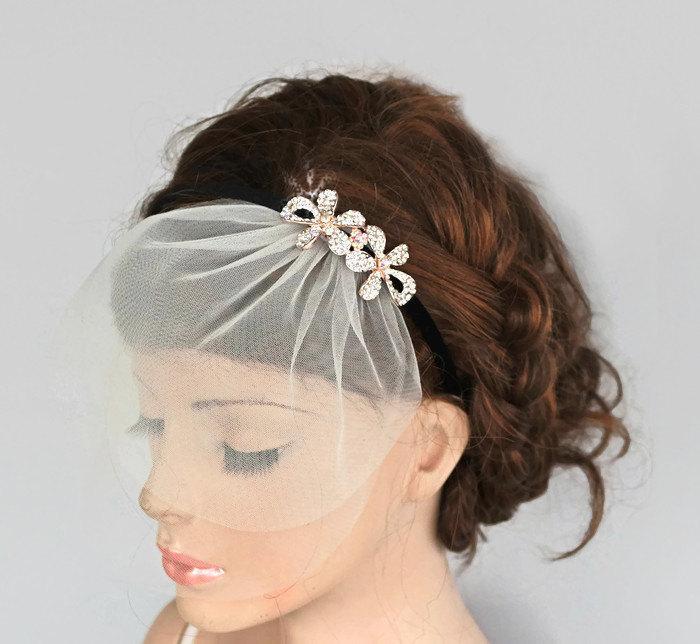 Wedding - Rhinestone Bridal Head Piece, Mini Tulle Veil Blusher, Headband, Wedding Hair Accessory, Black Velvet, Crystal Headpiece, Handmade