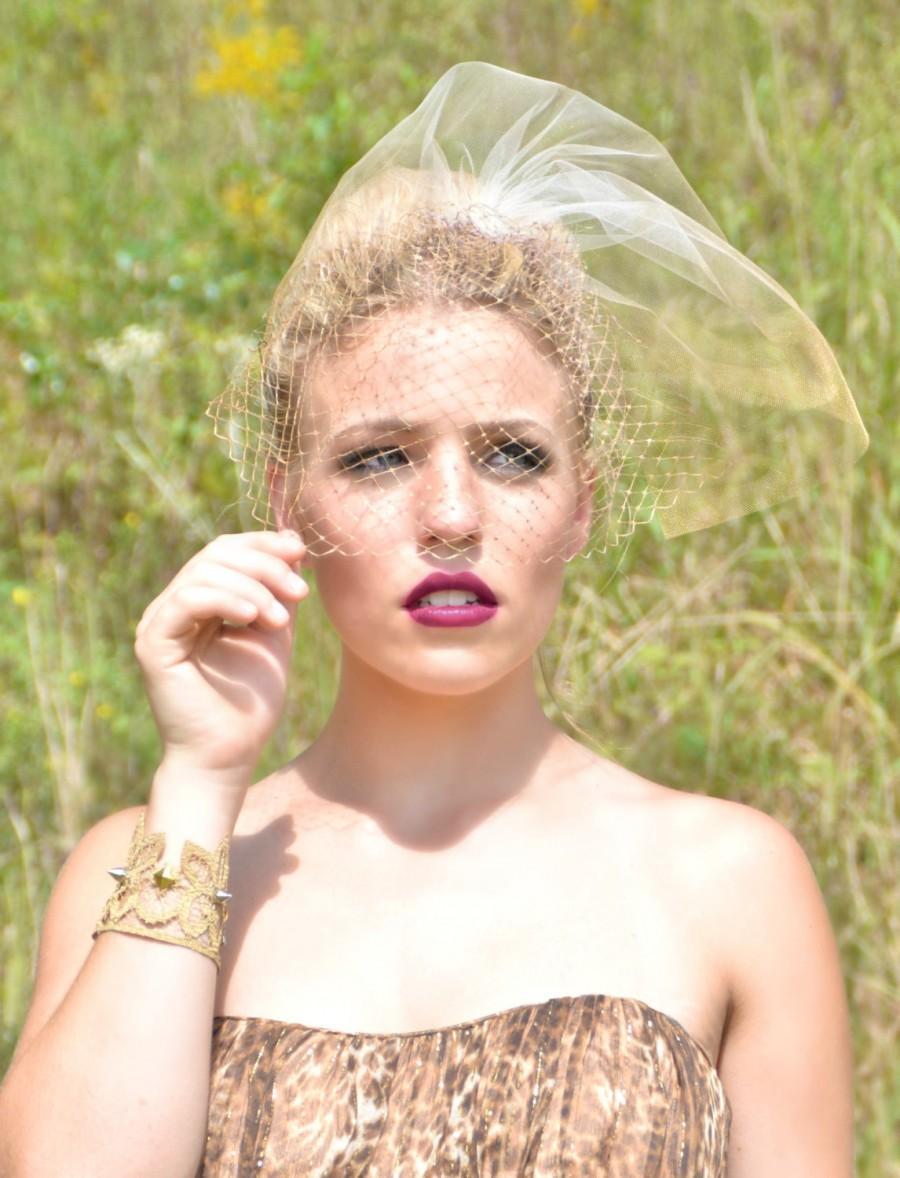 زفاف - Gold Veil, Gold Birdcage Veil,Gold Birdcage wedding veil,Ombre Wedding Veil,Blusher Bridal Veil,  - Gold Rush