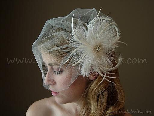 Hochzeit - Bridal Veil With Flower, Tulle Wedge Birdcage Veil with Ostrich Tip Feather Fascinator, Wedding Head Piece, White, Ivory, Black