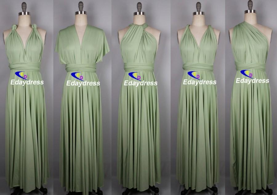 0ebe8e5c614 Maxi Full Length Bridesmaid Light Olive Infinity Dress Convertible Wrap  Dress Multiway Long Dresses