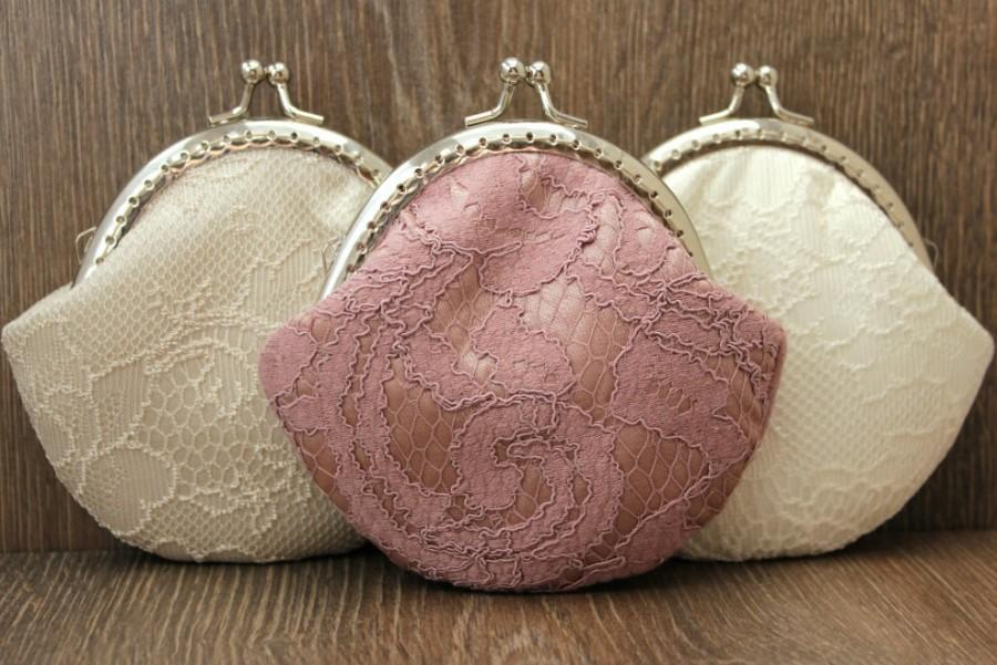 Свадьба - Lace Coin purse - Rose Wedding Bridal Clutch - Wedding Bridesmaid Small Lace Clutch - Wedding Ring Holder - Party Gift - Set