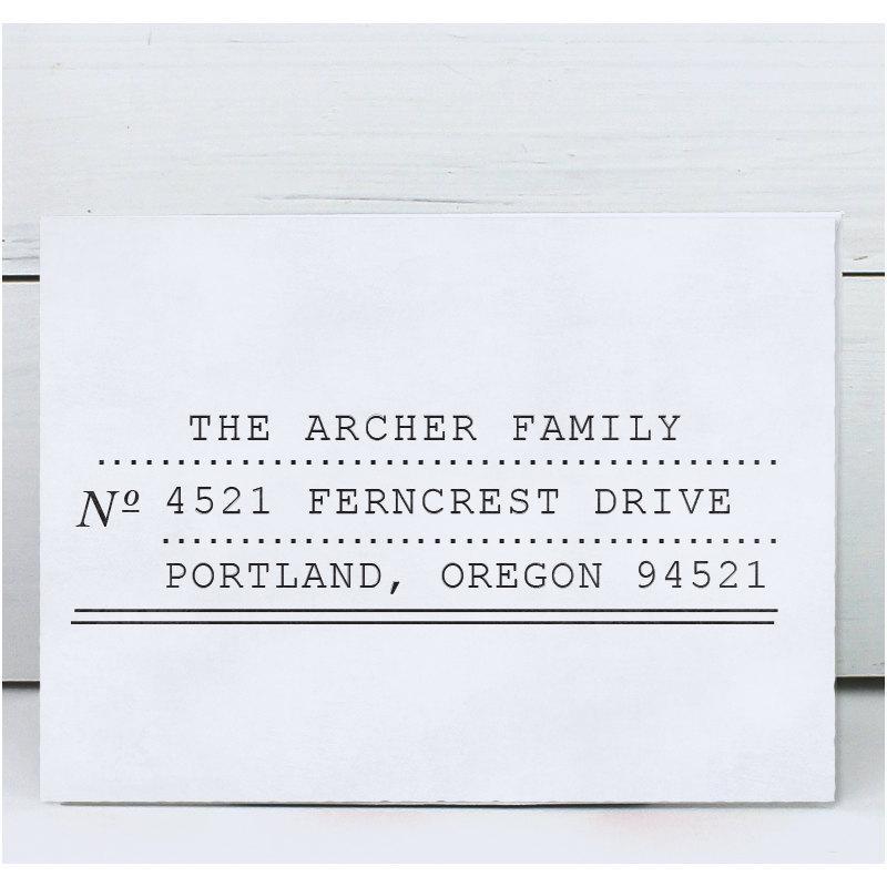Hochzeit - Custom Address Stamp, Return Address Stamp, Self Inking Address Stamp, Rubber Stamp - Archer