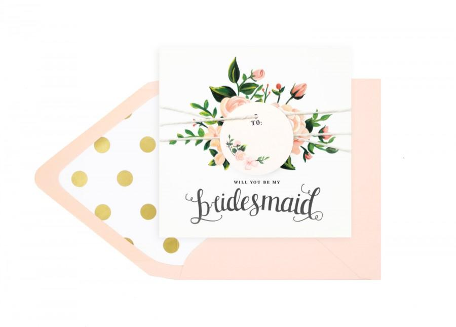 Hochzeit - Will you be my bridesmaid card - blush and slate