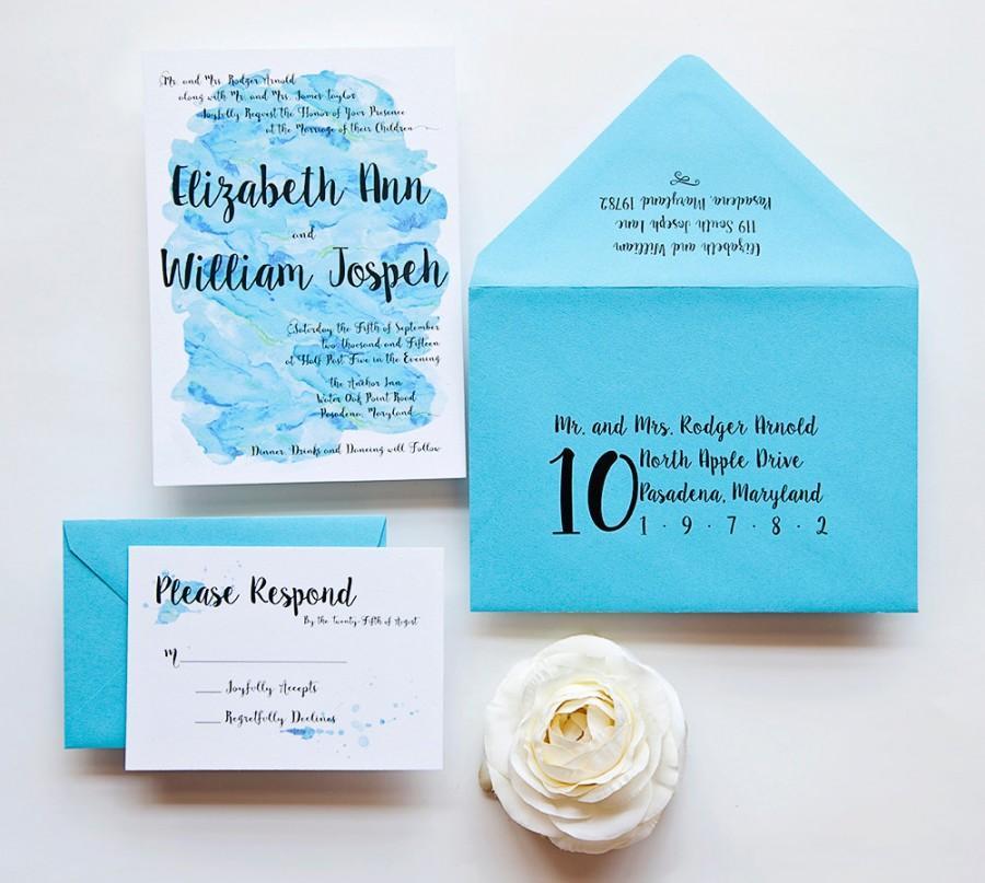 Hochzeit - Wedding Invitation - Watercolor Wedding Invitation - Teal Watercolor Wedding Invitation - Teal Dream Watercolor Wedding Invitation