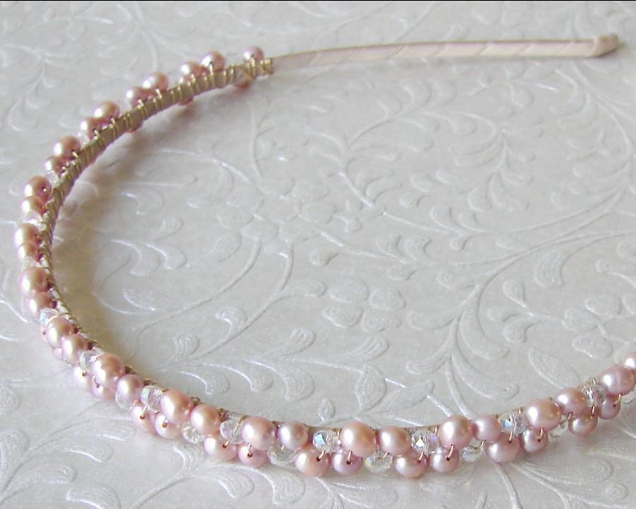 Свадьба - Blush Rose Pink Freshwater Pearl Diadem Wedding Headband Bridal Headpiece Bohemian Chic Renaissance Bride Prom Reign Headdress Gold Medieval