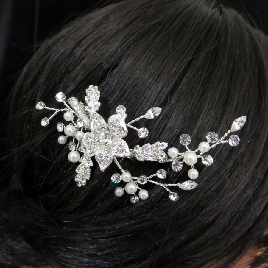 Hochzeit - Bridal headpiece, Bridal hair comb, Wedding hair comb, Bridal hair clip,  Pearl hair comb, Wedding head piece, Rhinestone headpiece