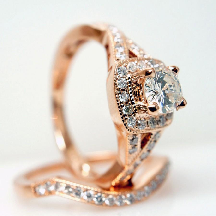 Hochzeit - Diamond Halo Rose Gold Engagement Ring & Wedding Band Complete Bridal Set Matching Wedding Ring Wedding Set Halo Engagement Ring Diamond