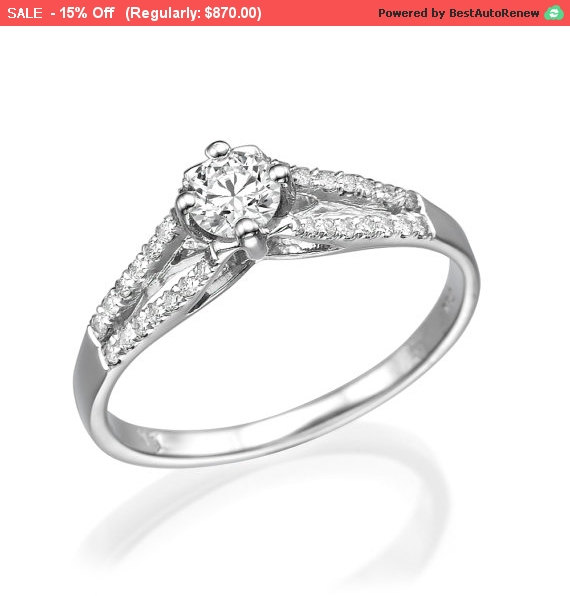 Wedding - 15% Sale Engagement Ring Round Cut Diamond 0.27 CT G SI1 on 14K White Gold Split Diamond Band, Promise Ring, Diamond Solitaire Ring, Anni...