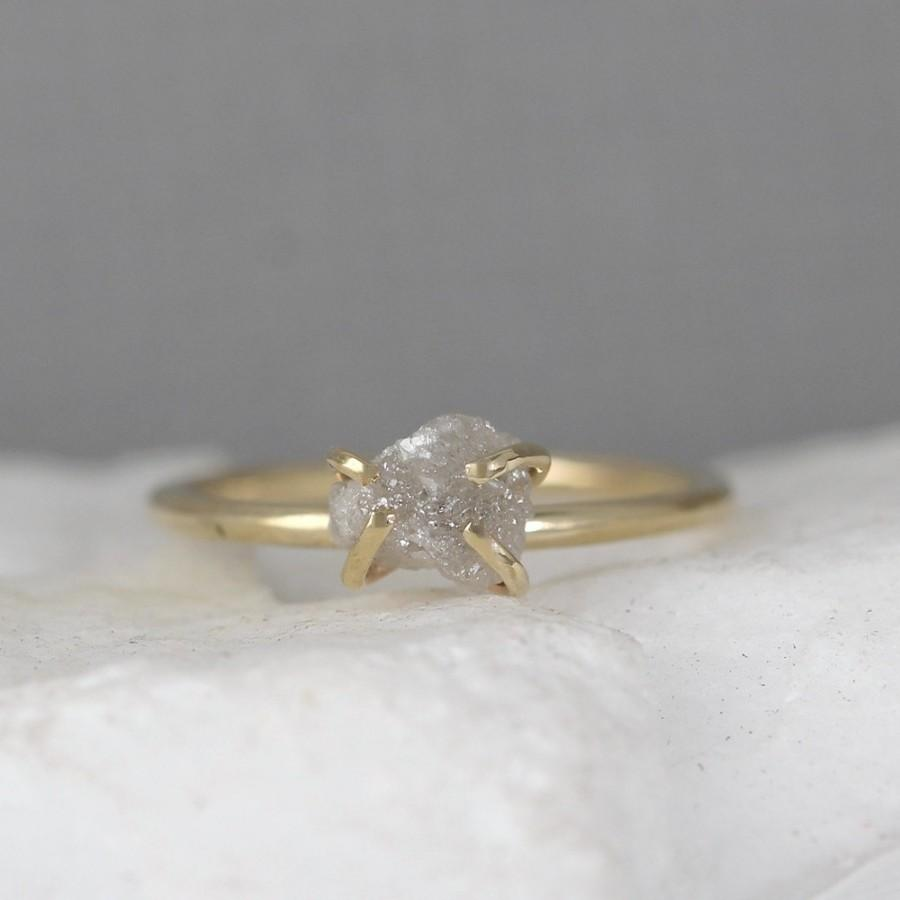 diamond carat halo gold rings uncut raw point no engagement ring white studio products