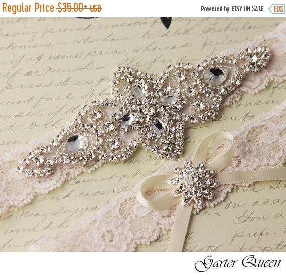 Wedding - 25% OFF sale Ivory Lace Garter Set, Wedding Garter, Bridal Garter set, Rhinestone Garter, Ivory Garter, Crystal Garter