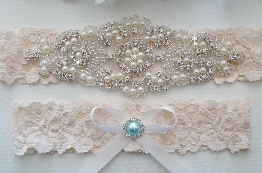 Wedding Garter Set Bridal Ivory Lace Vintage