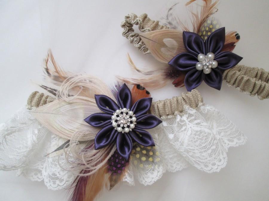 Plum Purple Wedding Garter Set Burlap Garter Ivory Shabby Lace Garter Peac