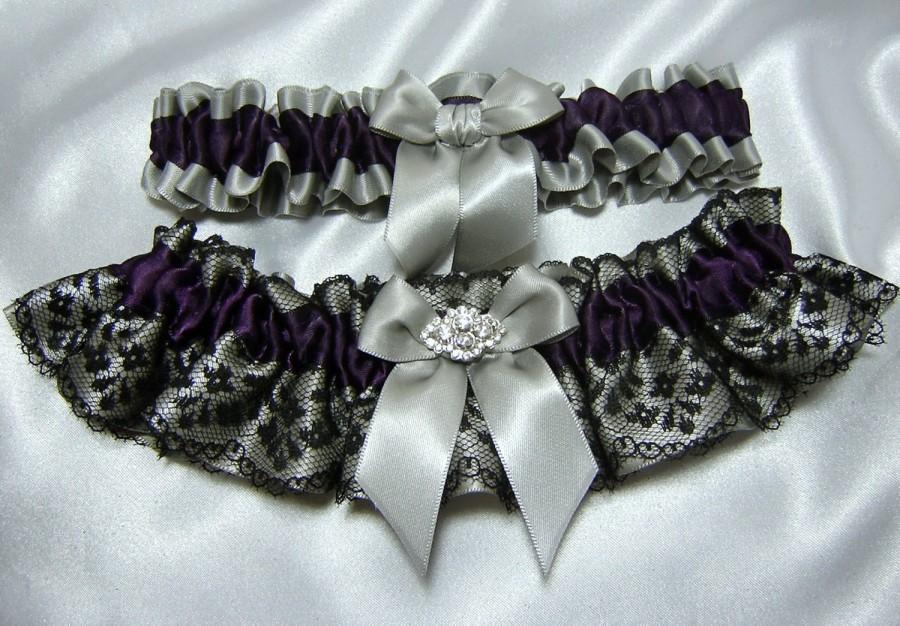 Eggplant Purple Wedding Garter Set W Black Lace