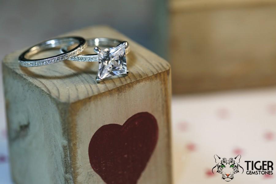 Hochzeit - 3 Carat Princess Engagement Ring & Wedding Band, Eternity Band, Man Made Diamond Simulants, Wedding, Sterling Silver, Bridal, Promise Ring