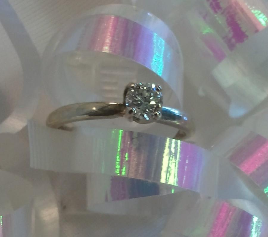 Wedding - Diamond Engagement Ring Sterling Silver Solitaire