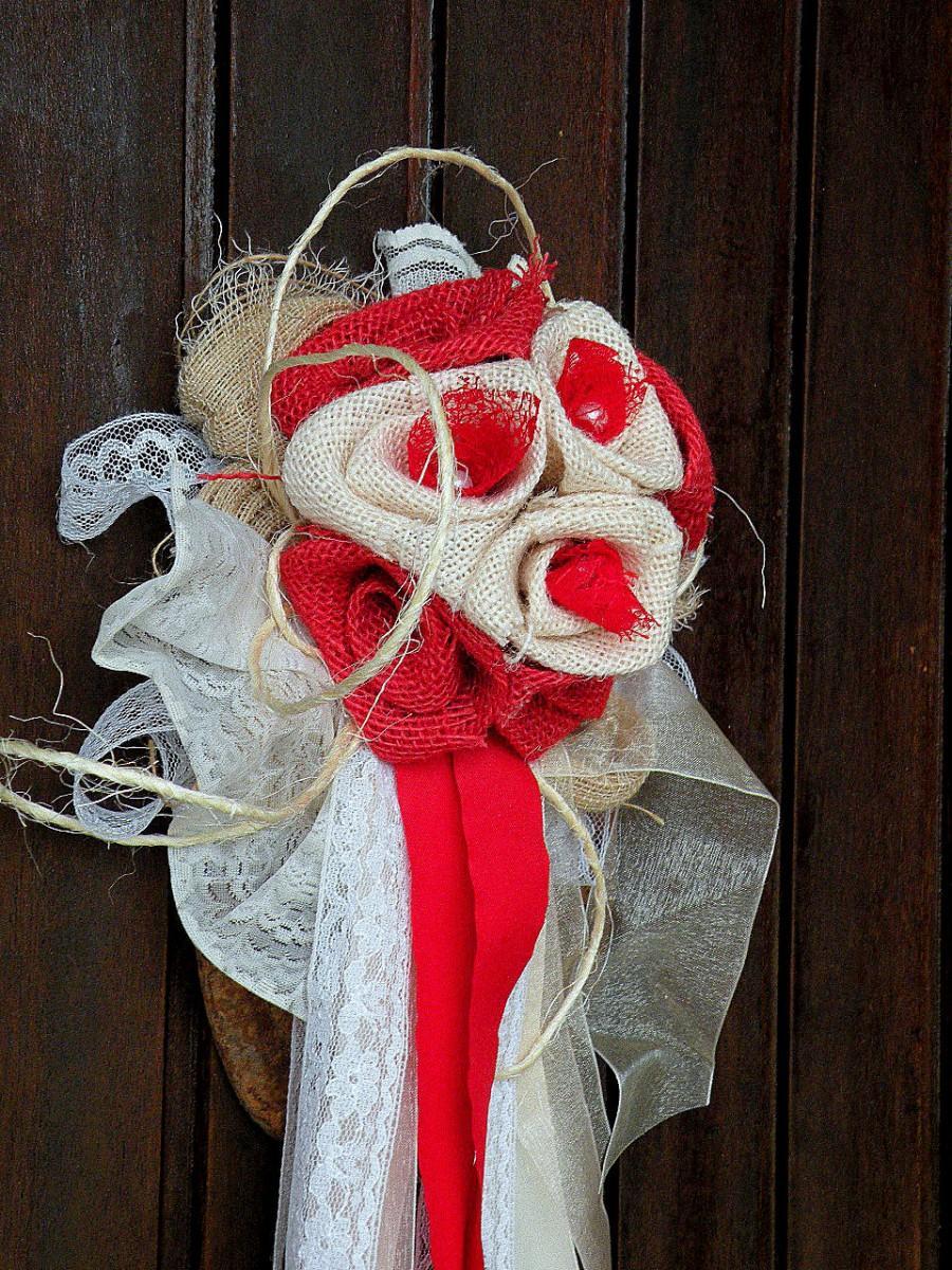 زفاف - Burlap flowers bouqet, Wedding Burlap decor, Home Decor, Country Rustic decor, Bridal brooch bouquet with lace flower, Wedding Bridal