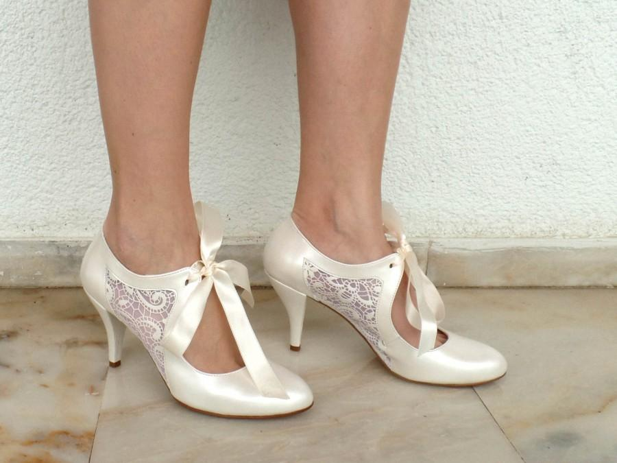 714f51202d83b Wedding Shoes - Bridal Shoes With Ivory Lace And Satin Ribbons