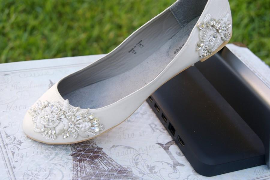 Wedding - ivory bridal flat adorned with high couture handmade trim (5 to 6 weeks production time)