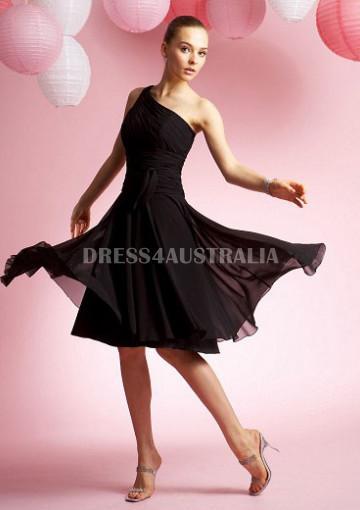 Mariage - Hot Seller Black One Shoulder Knee Length Chiffon Bridesmaid Dresses by JME B3055